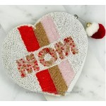 Mom Striped Heart Beaded Coin Pouch