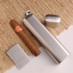Personalized Cigar Case Flask Lighter Combo