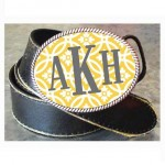 Monogrammed Yellow Floral Buckle