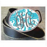 Monogrammed Turquoise Formal Buckle