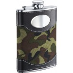 Army Green Camouflage & Stainless Steel Liquor Flask - 8oz