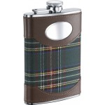 Edinburgh 8oz Plaid Cloth Wrapped Stainless Steel Hip Flask