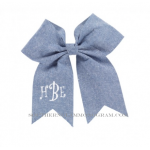 Monogrammed Hair Bow - Chambray