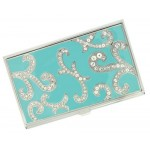 Rana Turquoise and Austrian Crystals Business Card Case