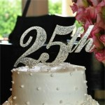 Monogrammed Cake Topper - 25th Anniversary