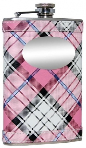 Valor Pink Plaid Stainless Steel 8oz Hip Flask