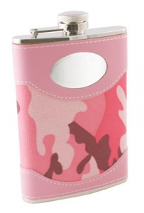 GI Jane 8oz Pink Camouflage Wrapped Stainless Steel Hip Flask