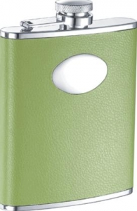 Lily Pad Light Green Leather 6oz Flask