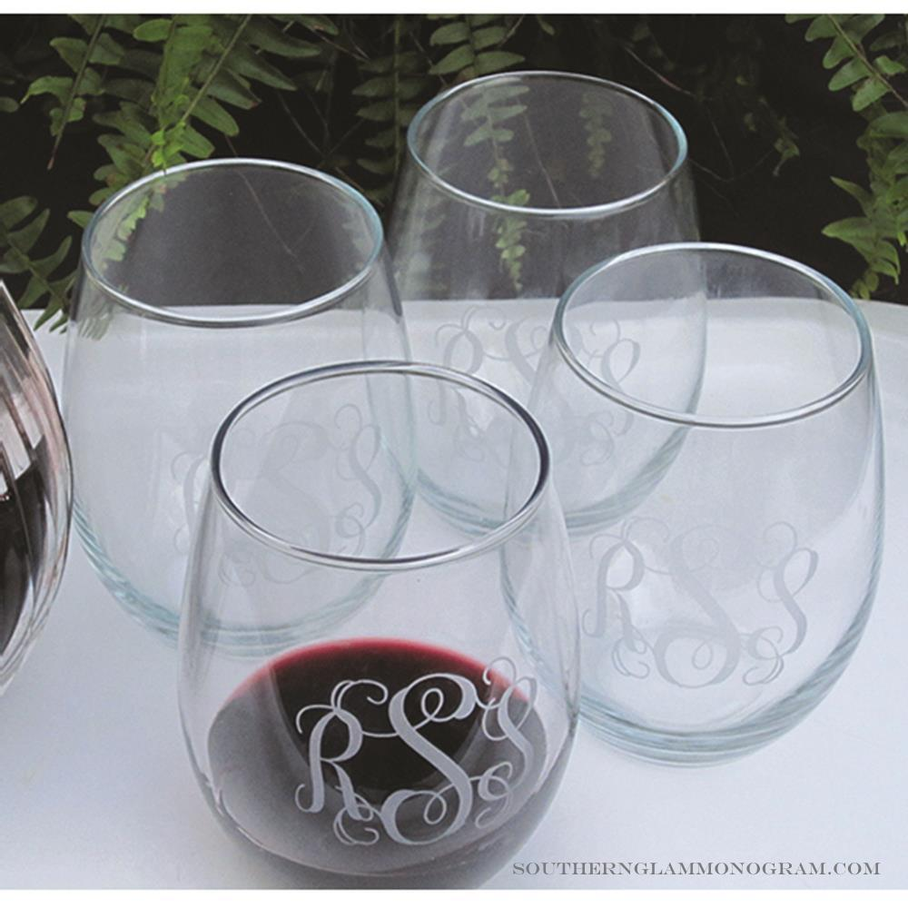 Wedding Personalized Stemless Wine Glasses personalized stemless wine glass southern glam monogram glass