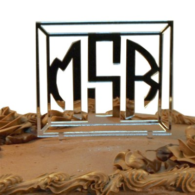 Art Deco Monogram Cake Topper